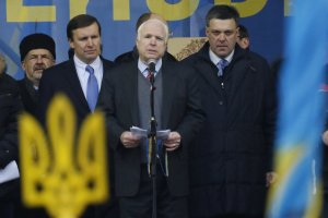 John McCain in Kiev's independence square with far-right opposition leaders - December 2013