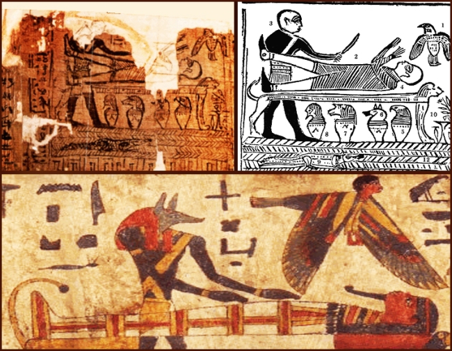 Above left is the remaining part of the original Egyptian papyrus misinterpreted by Smith Below is the stylistic depiction of mummification of the dead by Anubis (God of Cemetery)