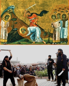 A painting depicting the Martyrs of Najran and below is an image of ISIL's brutal beheadings